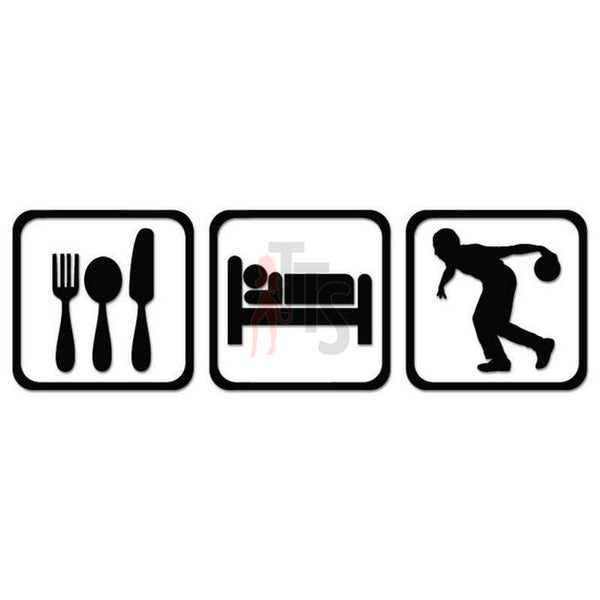 Bowling Eat Sleep Daily Activities Decal Sticker