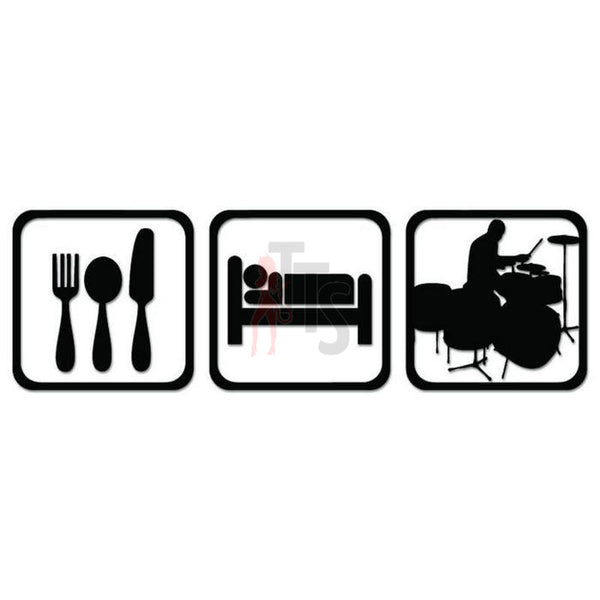 Drummer Drums Eat Sleep Daily Activities Decal Sticker