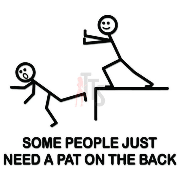 Pat On Back Stick Figure Decal Sticker