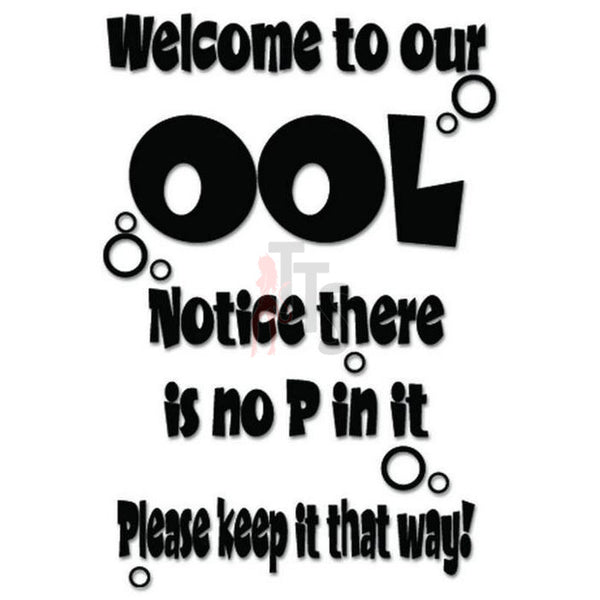 No Pee Pool Funny Decal Sticker