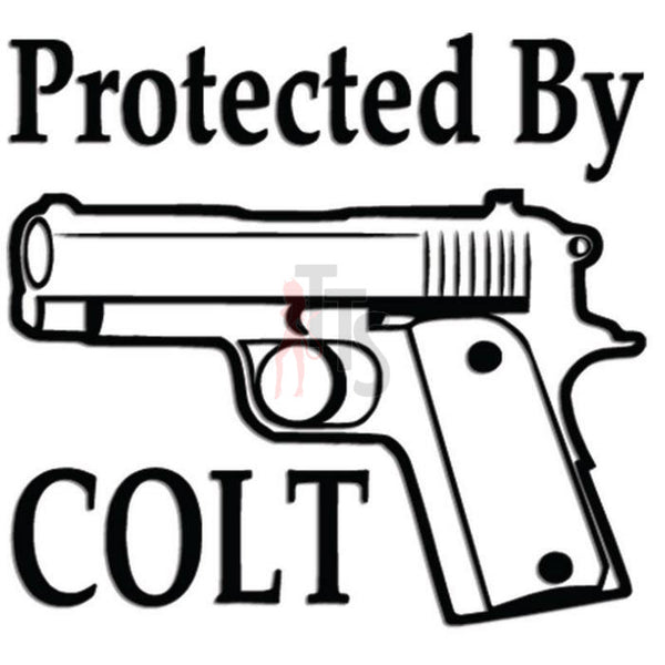Protected by Colt Pistol Gun Decal Sticker