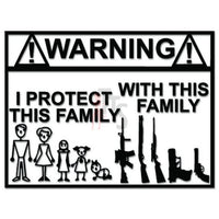 Warning Gun Gamily Stick Figure Decal Sticker
