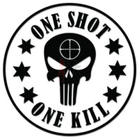 One Shot One Kill Sniper Punisher Decal Sticker