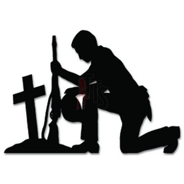Soldier Praying Military Decal Sticker