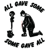 Soldier Praying Some Gave All Decal Sticker