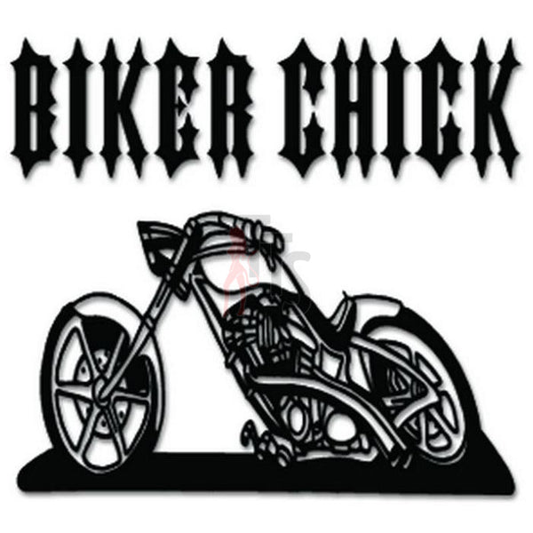 Biker Chick Chopper Motorcycle Decal Sticker