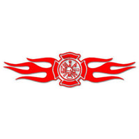 Firefighter Maltese Cross Flame Decal Sticker