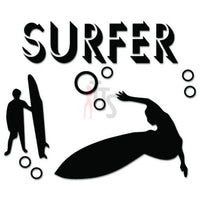Surfer Surfing Wave Decal Sticker