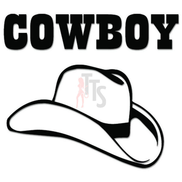 Cowboy Stetson Hat Decal Sticker Style 1