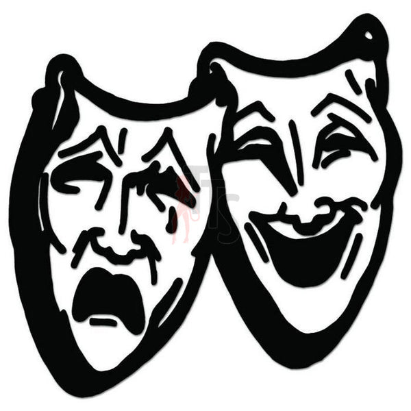 Drama Theater Mask Comedy Tragedy Decal Sticker Style 4
