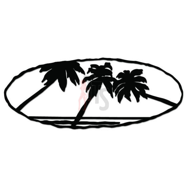 Palm Tree Beach Decal Sticker Style 1