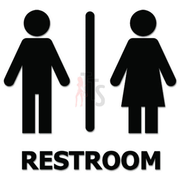 Unisex Restroom Sign Decal Sticker Style 2