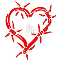 Love Hurts Heart Barbwire Decal Sticker
