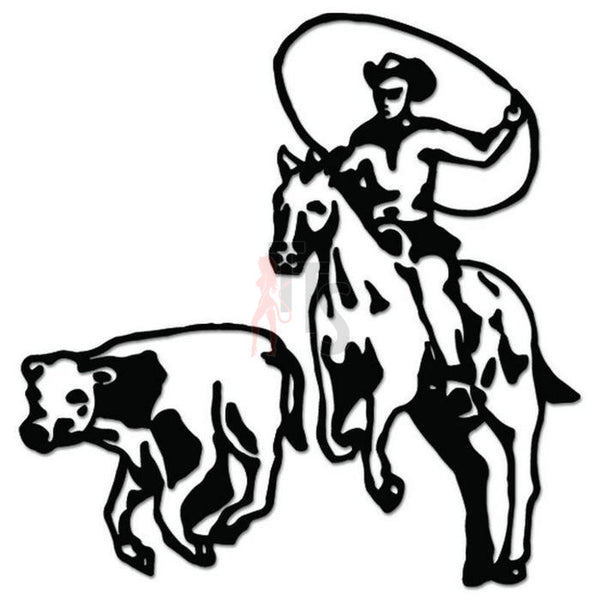 Cowboy Horse Cattle Decal Sticker