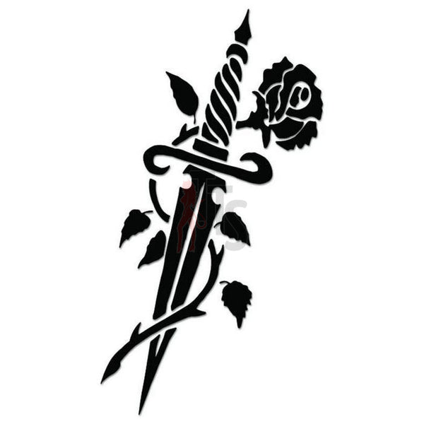 Rose Flower Dagger Decal Sticker
