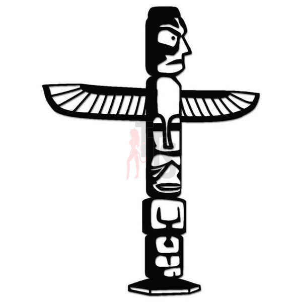 Indian Totem Pole Eagle Decal Sticker Style 2