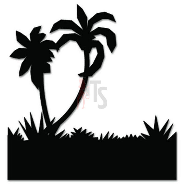 Palm Tree Beach Decal Sticker Style 4