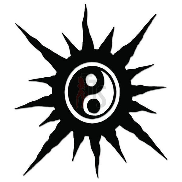 Sun Ying Yang Tribal Art Decal Sticker Style 1