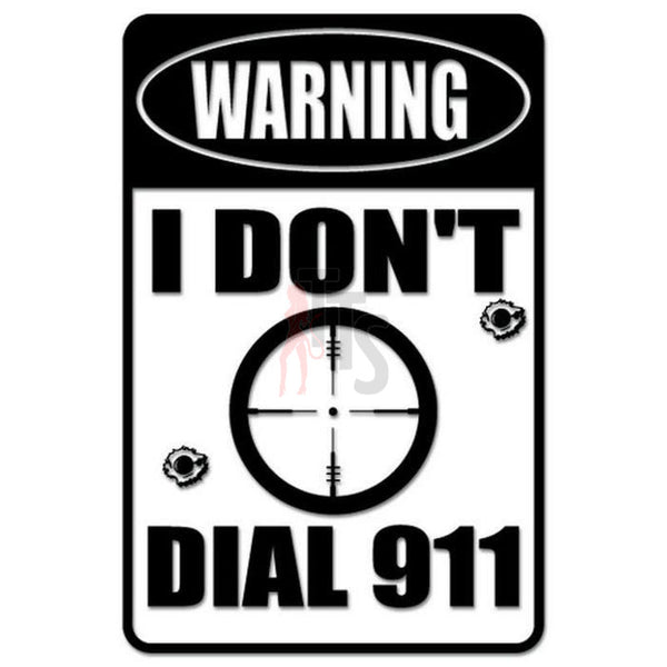 Warning Dial 911 Decal Sticker Style 1