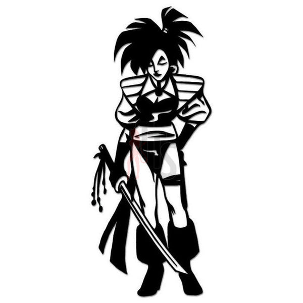 Warrior Girl Sword Decal Sticker
