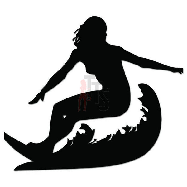 Surfer Girl Surfing Decal Sticker