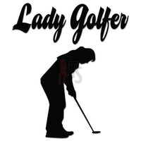 Lady Golfer Golfing Decal Sticker