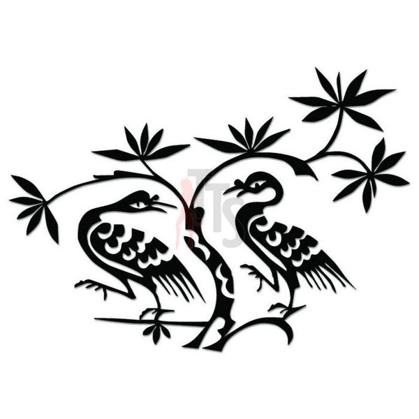 Crane Birds Tree Branch Decal Sticker