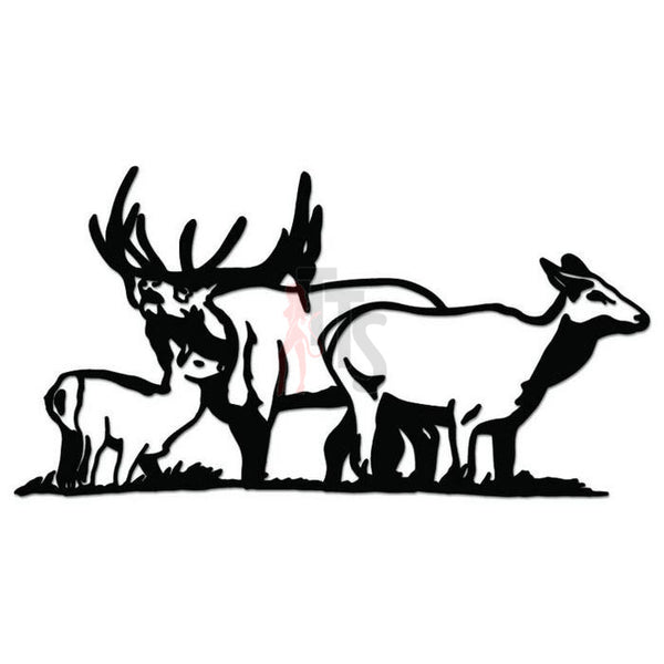 Deer Buck Family Animal Decal Sticker Style 4