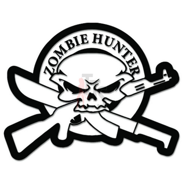 Zombie Hunter Skull Weapons Decal Sticker