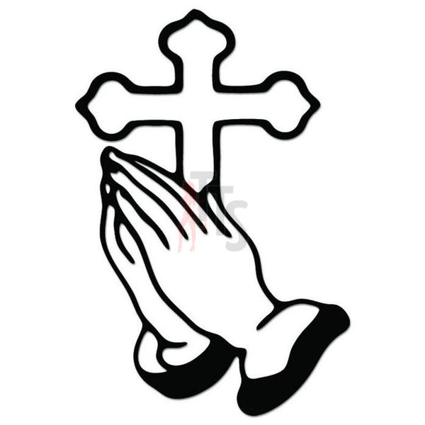 Cross Praying Hands Decal Sticker Style 1
