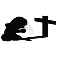 Girl Praying Cross Decal Sticker Style 4