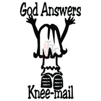 God Answers Knee Mail Decal Sticker