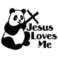 Panda Bear Jesus Loves Decal Sticker