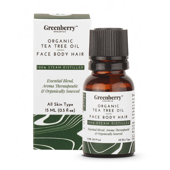 Organic Tea Tree Oil - 15 ML for Acne Control, Dandruff Control & Daily Use.