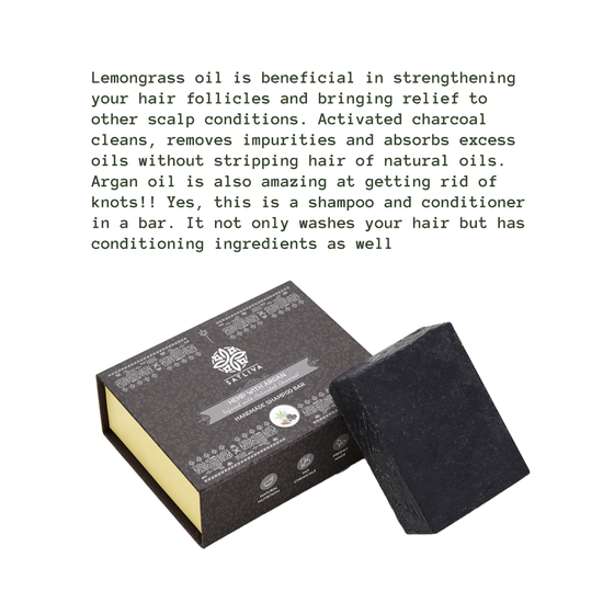 Hemp with Argan and Activated Charcoal Shampoo Bar by SATLIVA.