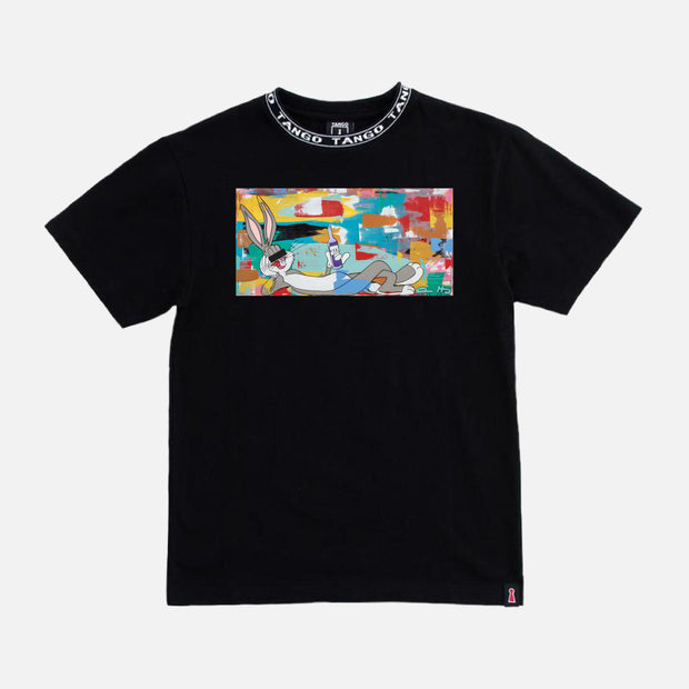 Wearable Art Tango Hotel XXX Drink Bunny Black T-Shirt