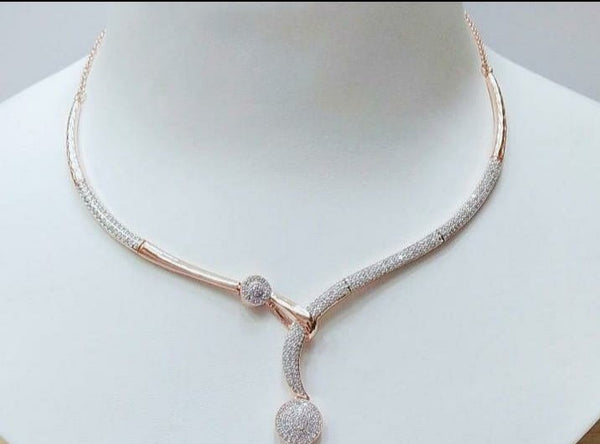 Rosegold cz necklace murano style