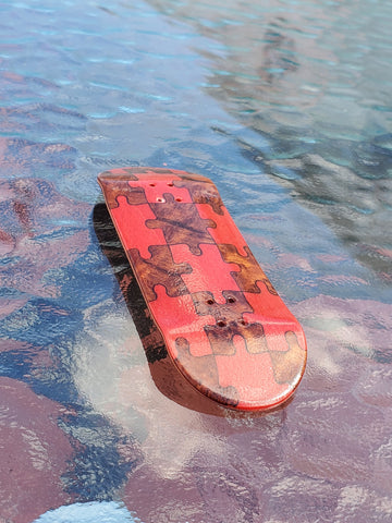 PUZZLED RED/BURL POPSICLE SHAPE SPLITPLY DECK