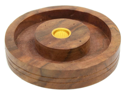 Wooden craved plate burner for cone and incense