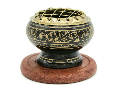 Brass carved screen charcoal burner
