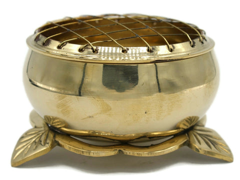 "Brass screen charcoal burner large 4"" wide"