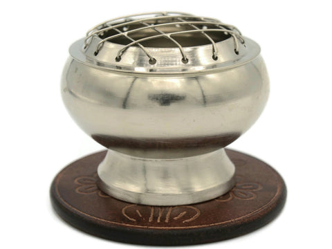 Brass screen charcoal burner in pewter finish