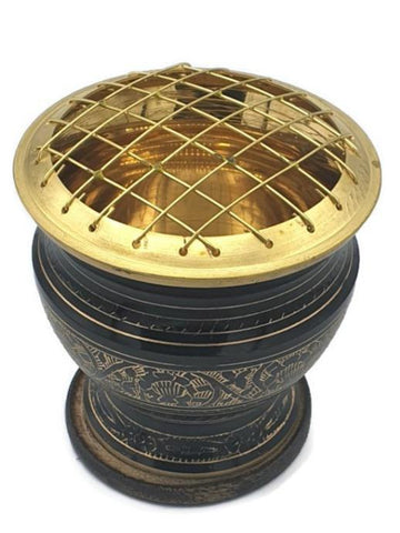 Brass Carved Charcoal Burner Tall