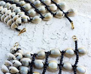 Cowrie Shell Beaded Necklace Wide Collar Shape