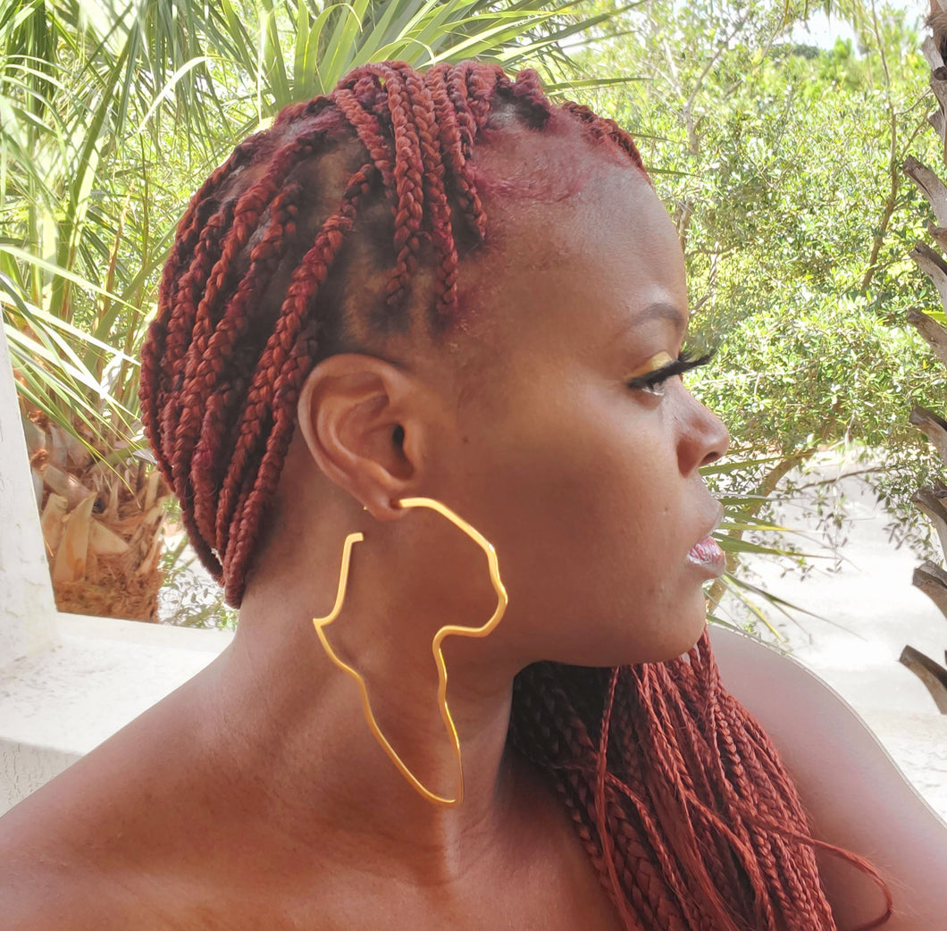 AFRICA Map Gold Earrings