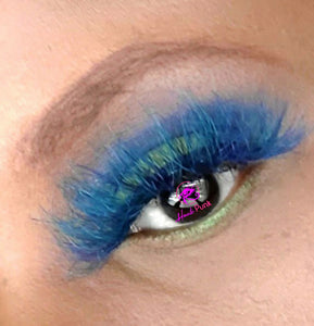 AMENZE- Blue/Green Colored Real Mink Strip Lashes