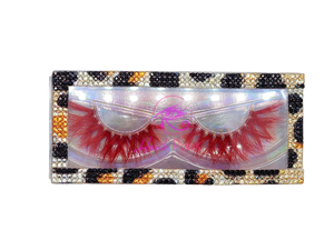 SCARLET- Red Colored Real Mink Strip Lashes