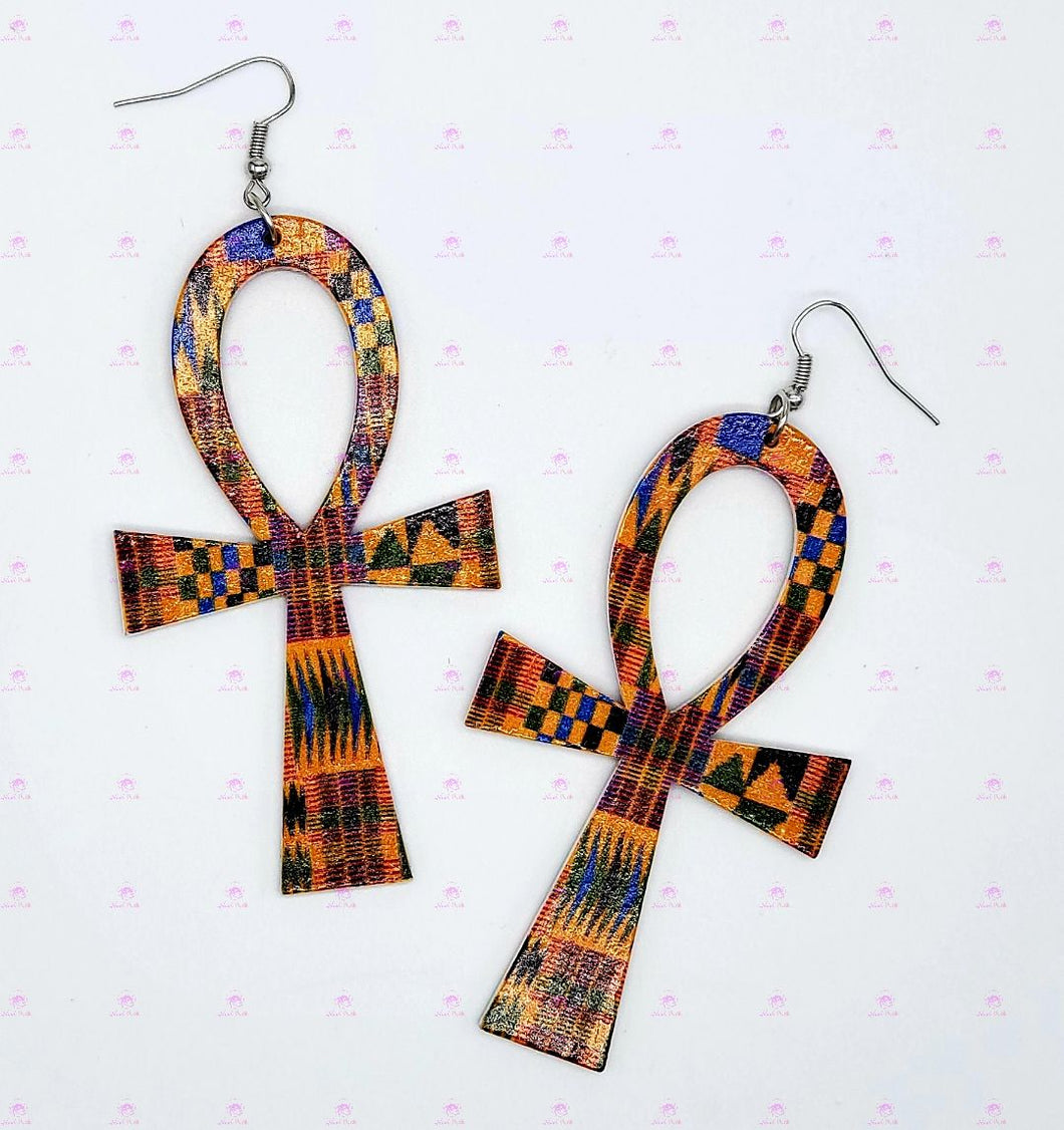 Kente Ankh Earrings