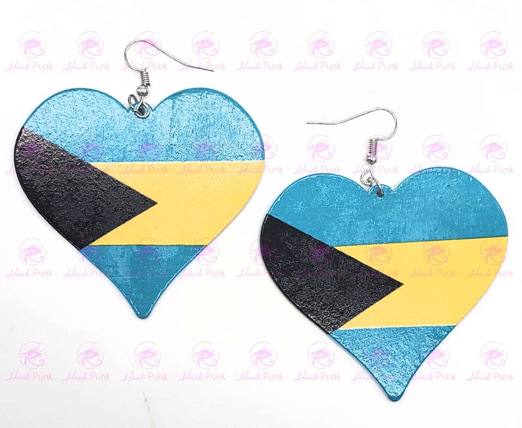 BAHAMIAN FLAG HEART Earrings