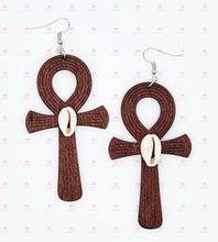 Load image into Gallery viewer, Cowrie Ankh Earrings